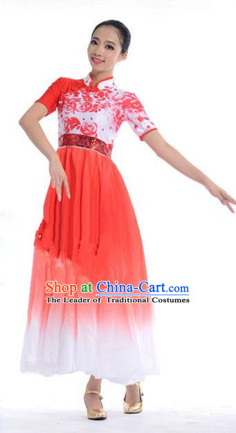 Chinese Classic Stage Performance Chorus Singing Group Costumes, Opening Dance Competition Red Dress, Classic Dance Clothing for Women