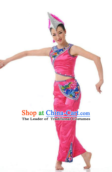 Traditional Chinese Yi Nationality Dancing Costume, Torch Festival Dance Clothing, Chinese Yi Minority Nationality Costume for Women
