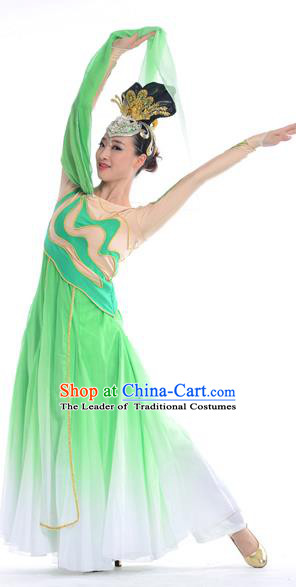 Traditional Chinese Classical Dance Water Sleeve Fan Dancing Costume, Folk Dance Drum Dance Uniform Yangko Green Dress for Women