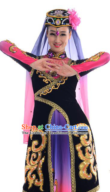 Traditional Chinese Hui Nationality Dancing Costume, Folk Dance Ethnic Costume, Chinese Minority Nationality Uigurian Dance Costume for Women