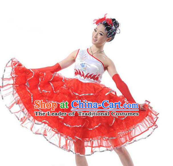 Traditional Chinese Classical Dance Fan Dancing Costume, Folk Dance Uniform Red Bubble Dress for Women