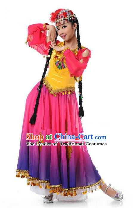 Traditional Chinese Uyghur Nationality Dancing Costume, Folk Dance Ethnic Costume, Chinese Minority Nationality Uigurian Dance Dress for Women
