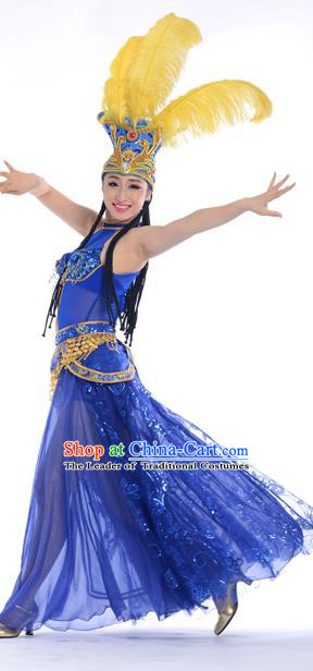 Chinese Classic Stage Performance Chorus Singing Group Dance Costume and Headwear, Opening Dance Samba Dance Dress for Women