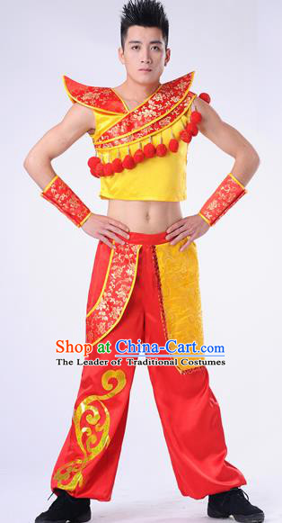 Traditional Chinese Classical Dance Yangge Fan Dance Costume, Folk Dance Drum Dance Uniform Yangko Clothing Complete Set for Men
