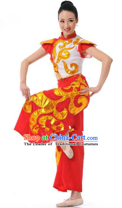 Traditional Chinese Classical Dance Yangge Fan Dancing Costume, Folk Dance Drum Dance Uniform Yangko Red Costume for Women