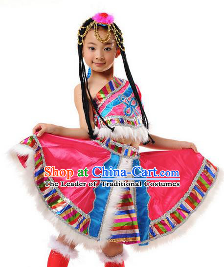 Traditional Chinese Mongol Nationality Dancing Costume, Mongols Children Folk Dance Ethnic Pleated Skirt, Chinese Mongolian Minority Nationality Dress for Girls