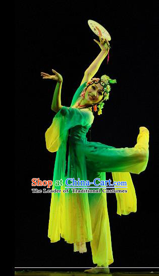 Traditional Chinese Classical Dance Yangge Fan Dance Costume, Folk Dance Drum Dance Uniform Yangko Green Dress for Women