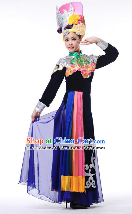 Traditional Chinese Qiang Nationality Dancing Costume, Qiang Zu Female Folk Dance Ethnic Pleated Dress, Chinese Minority Nationality Embroidery Costume for Women