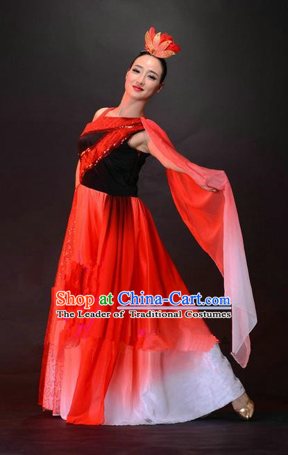 Traditional Chinese Classical Dance Fan Dancing Costume, Folk Dance Opening Dance Dress for Women