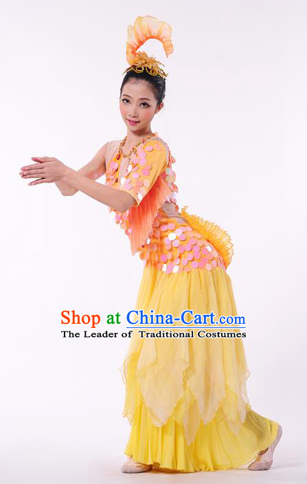 Traditional Chinese Dai Nationality Peacock Dancing Costume, Folk Dance Ethnic Paillette Dress, Chinese Dai Minority Nationality Dance Clothing for Women