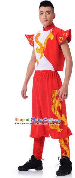 Traditional Chinese Classical Dance Yangge Fan Dance Costume, Drum Dance Uniform Yangko Clothing for Men