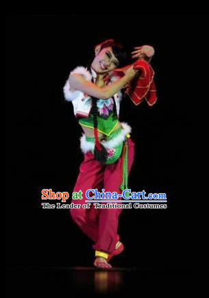 Traditional Chinese Classical Dance Yangge Fan Dancing Costume, Northeast Song-and-dance Duet Uniform Yangko Costume Complete Set for Women