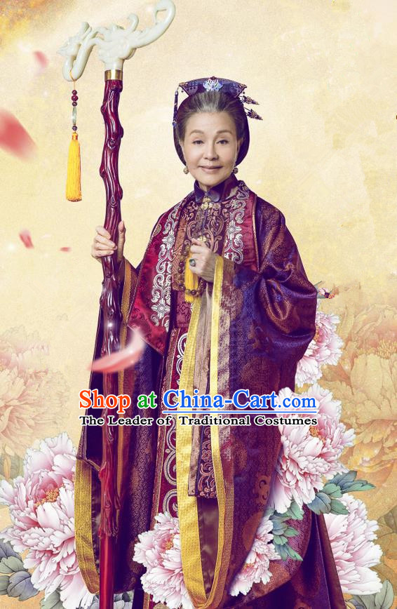 Traditional Chinese Ancient Song Dynasty Dowager Countess Costume and Headpiece Complete Set, Chinese Teleplay Flower Shabana Flyings Sky Vieille Dame Embroidered Dress for Women
