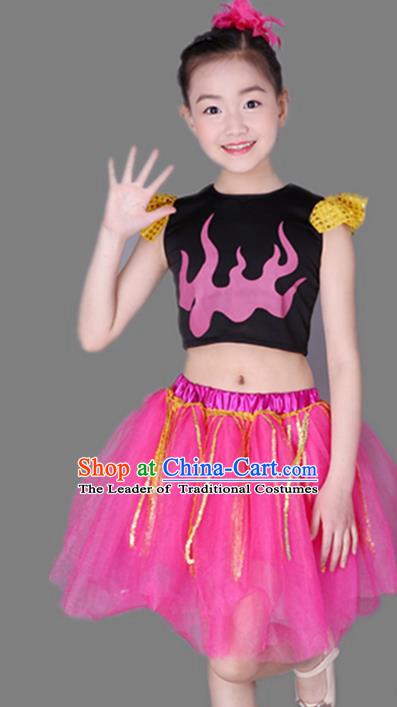 Top Grade Chinese Compere Performance Costume, Children Jazz Dance Dress Modern Dance Pink Bubble Skirts for Girls Kids
