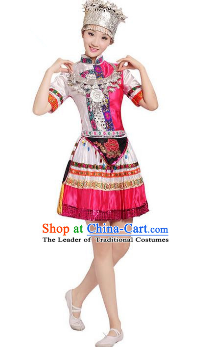 Traditional Chinese Miao Nationality Dancing Costume, Zhuang Zu Female Folk Dance Ethnic Pleated Skirt, Chinese Yi Minority Nationality Costume for Women