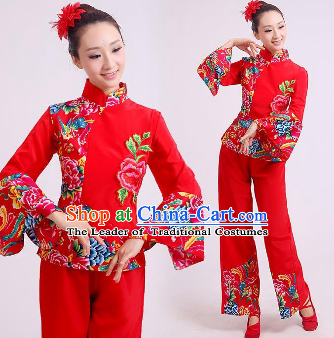 Traditional Chinese Yangge Fan Dancing Costume, Folk Dance Yangko Mandarin Sleeve Uniforms Drum Dance Red Clothing for Women