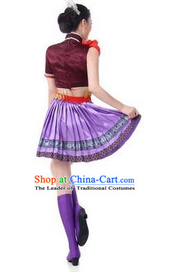 Traditional Chinese Miao Nationality Dancing Costume, Tujia Zu Female Folk Dance Ethnic Pleated Skirt, Chinese Tujia Minority Nationality Paillette Clothing for Women