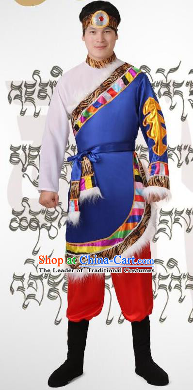 Traditional Chinese Zang Nationality Dancing Costume, Tibetan Folk Dance Dress, Chinese Tibetan Minority Nationality Blue Clothing for Men