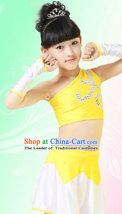 Chinese Modern Dance Costume, Children Opening Classic Chorus Singing Group Uniforms, Modern Dance Yellow Gym Suit for Girls Kids