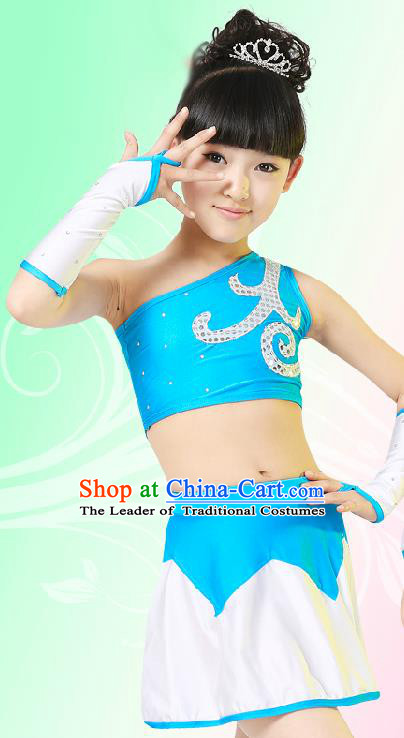 Chinese Modern Dance Costume, Children Opening Classic Chorus Singing Group Uniforms, Modern Dance Blue Gym Suit for Girls Kids