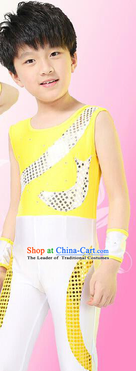 Chinese Modern Dance Costume, Children Opening Classic Chorus Singing Group Uniforms, Modern Dance Yellow Gym Suit for Boys Kids