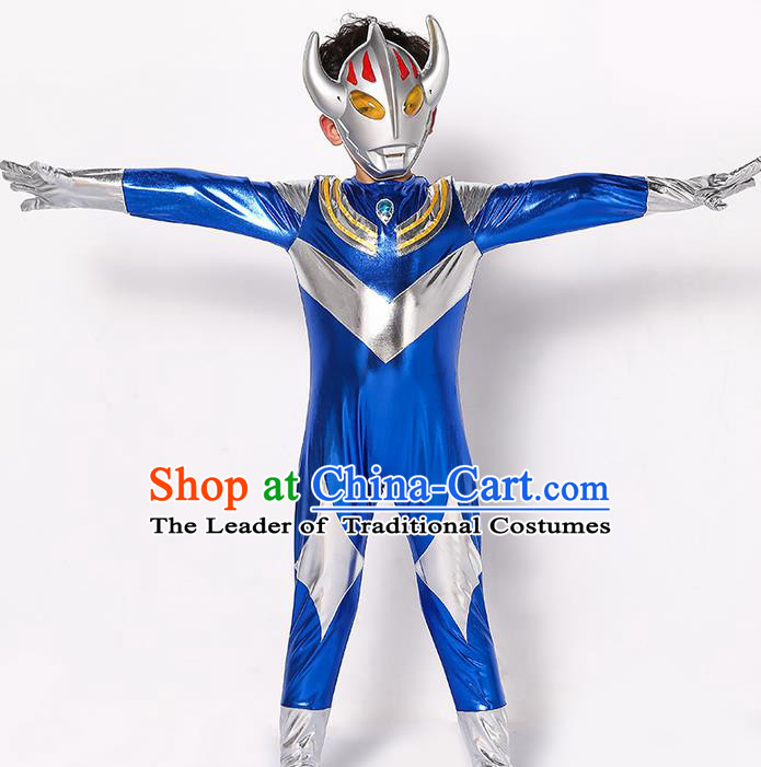 Chinese Modern Dance Costume, Children Cosplay Ultraman Uniforms, Halloween Party Blue Suit for Boys Kids