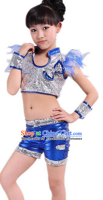 Chinese Modern Dance Costume, Children Opening Classic Chorus Uniforms, Jazz Dance Blue Paillette Suit for Girls Kids