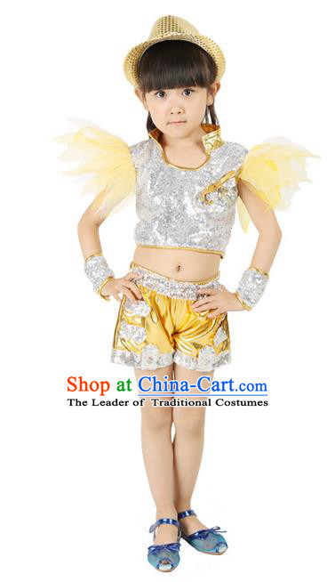 Chinese Modern Dance Costume, Children Opening Classic Chorus Uniforms, Jazz Dance Yellow Paillette Suit for Girls Kids