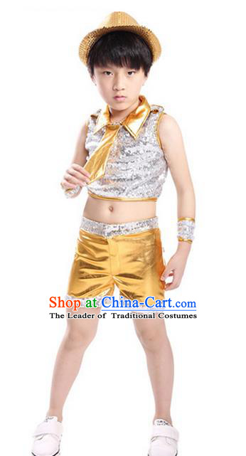 Chinese Modern Dance Costume, Children Opening Classic Chorus Uniforms, Jazz Dance Yellow Paillette Suit for Boys Kids