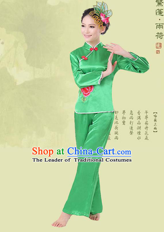 Traditional Chinese Yangge Fan Dancing Costume, Folk Dance Yangko Costume Drum Dance Green Clothing for Women
