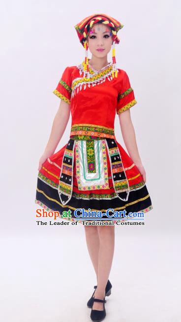 Traditional Chinese Yao Nationality Dancing Costume, Tujia Zu Female Folk Dance Ethnic Pleated Skirt, Chinese Yao Minority Nationality Costume for Women