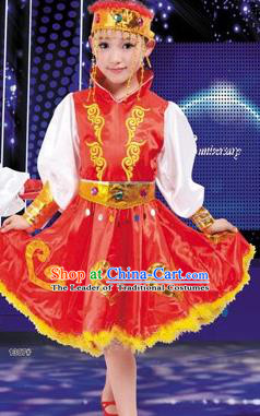 Traditional Chinese Mongol Nationality Dancing Costume, Mongols Children Folk Dance Ethnic Pleated Skirt, Chinese Minority Nationality Red Dress for Kids