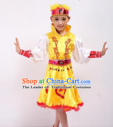 Traditional Chinese Mongol Nationality Dancing Costume, Mongols Children Folk Dance Ethnic Pleated Skirt, Chinese Minority Nationality Yellow Dress for Kids