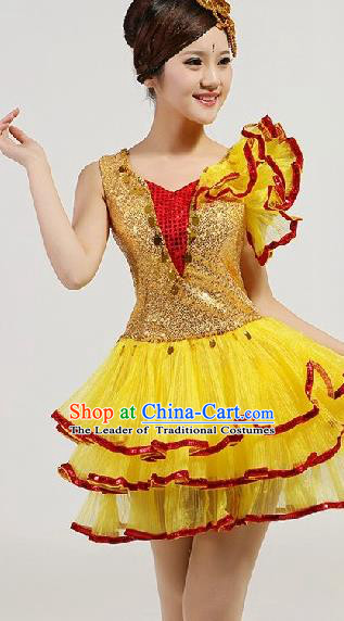 Chinese Compere Performance Costume, Opening Dance Chorus Dress, Modern Dance Classic Dance Yellow Bubble Dress for Women