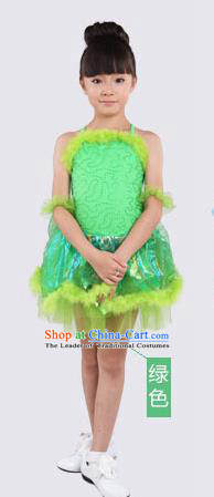 Top Compere Performance Catwalks Costume, Children Chorus Red Dress with Wings, Modern Dance Princess Short Green Bubble Dress for Girls Kids