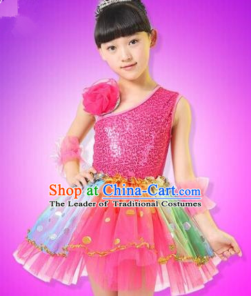 Top Compere Performance Catwalks Costume, Children Chorus Red Dress, Modern Dance Princess Red Veil Bubble Dress for Girls Kids