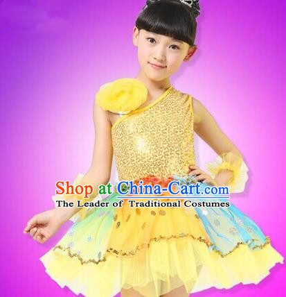 Top Compere Performance Catwalks Costume, Children Chorus Red Dress, Modern Dance Princess Yellow Veil Bubble Dress for Girls Kids