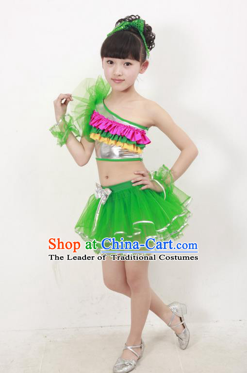 Top Compere Performance Catwalks Costume, Children Chorus Dress, Modern Latin Dance Green Veil Bubble Dress for Girls Kids