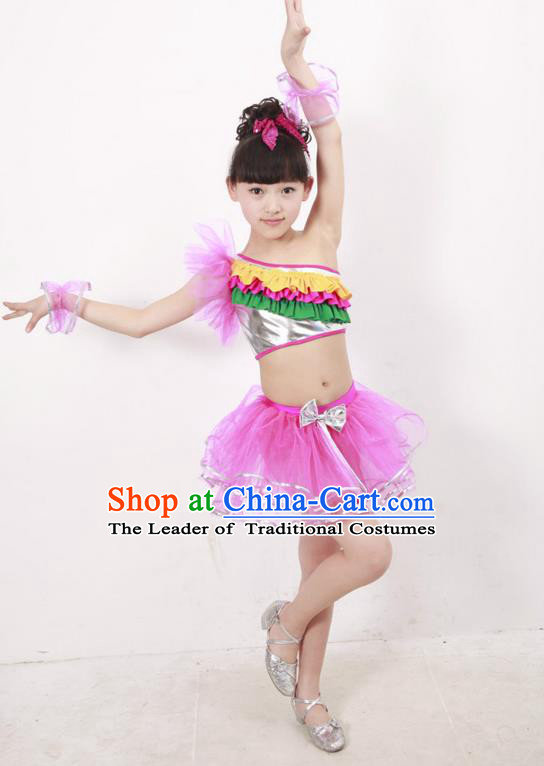 Top Compere Performance Catwalks Costume, Children Chorus Dress, Modern Latin Dance Pink Veil Bubble Dress for Girls Kids