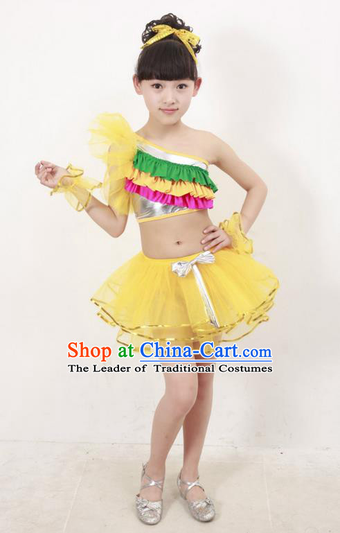 Top Compere Performance Catwalks Costume, Children Chorus Dress, Modern Latin Dance Yellow Veil Bubble Dress for Girls Kids
