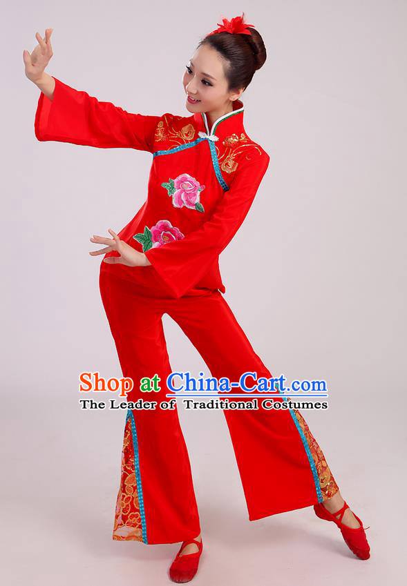 Traditional Chinese Yangge Fan Dancing Costume, Folk Dance Yangko Mandarin Sleeve Uniform Drum Dance Red Clothing for Women
