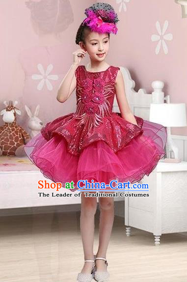 Traditional Chinese Modern Dance Compere Performance Costume, Children Opening Dance Chorus Dress, Classic Dance Wine Red Bubble Dress for Girls Kids