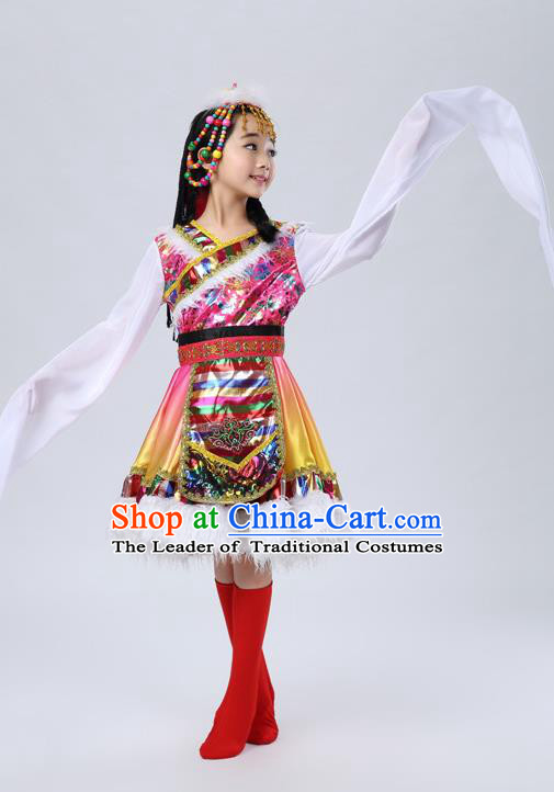 Traditional Chinese Zang Nationality Dancing Costume, Tibetan Children Folk Dance Ethnic Pleated Skirt, Chinese Tibetan Minority Water Sleeve Pink Dress for Kids