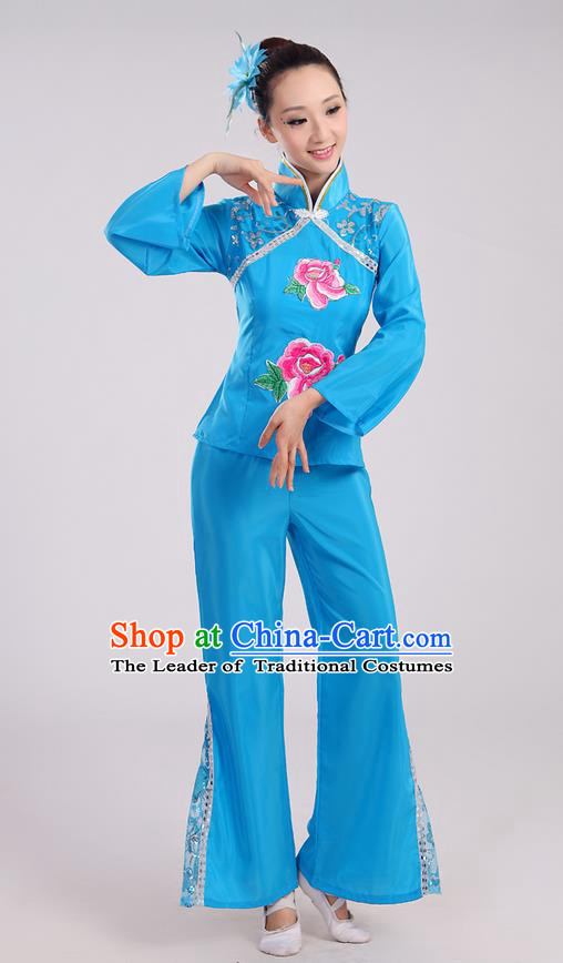 Traditional Chinese Yangge Fan Dancing Costume, Folk Dance Yangko Mandarin Sleeve Uniform Drum Dance Blue Clothing for Women
