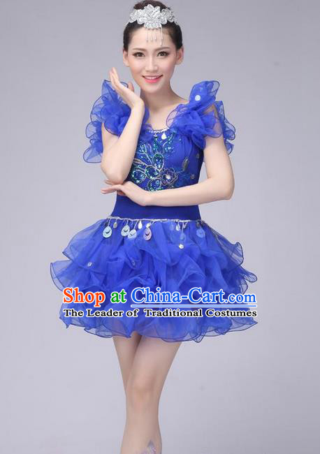 Traditional Chinese Modern Dance Costume, Women Opening Dance Chorus Group Uniforms Short Blue Bubble Dress for Women