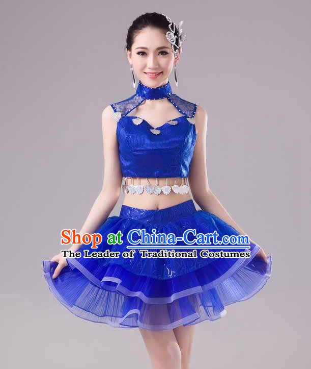 Traditional Chinese Modern Dance Costume, Women Opening Dance Chorus Group Uniforms Short Paillette Blue Bubble Dress for Women