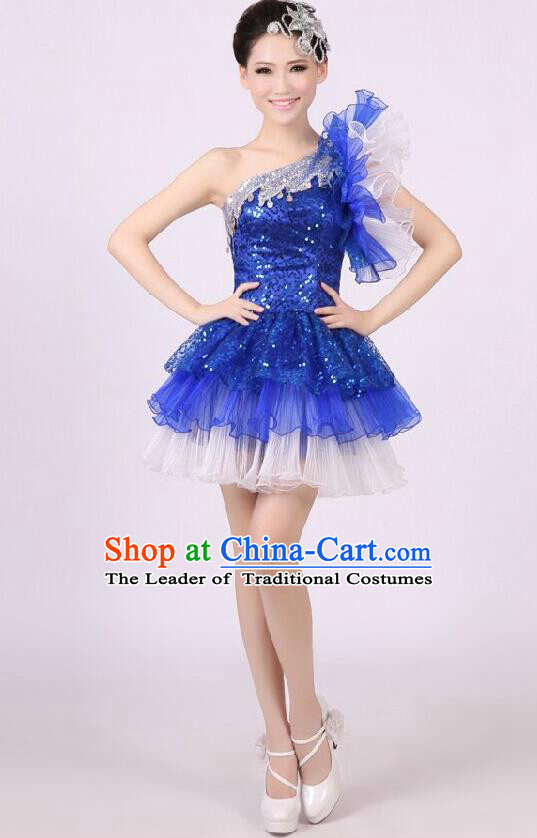 Traditional Chinese Modern Dance Costume, Women Opening Dance Chorus Group Uniforms One-shoulder Short Blue Bubble Dress for Women
