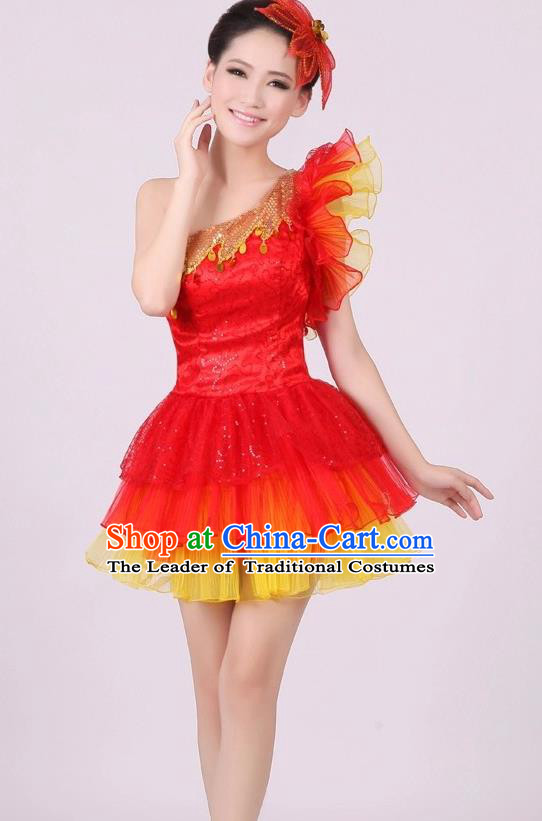 Traditional Chinese Modern Dance Costume, Women Opening Dance Chorus Group Uniforms One-shoulder Short Red Bubble Dress for Women