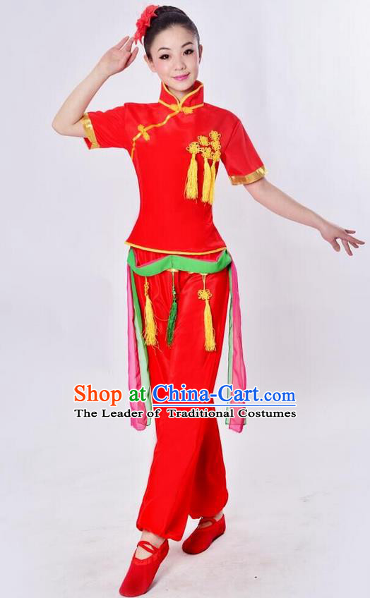 Traditional Chinese Classical Dance Yangge Fan Dance Costume, Folk Dance Drum Dance Uniform Yangko Red Clothing for Women