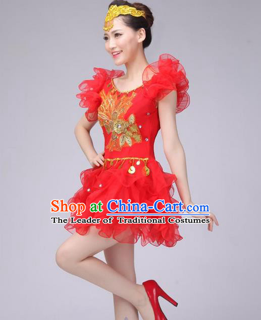 Traditional Chinese Modern Dance Costume, Women Opening Dance Chorus Group Uniforms Short Red Bubble Dress for Women